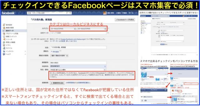 Facebookページとチェックインスポットを統合させる方法