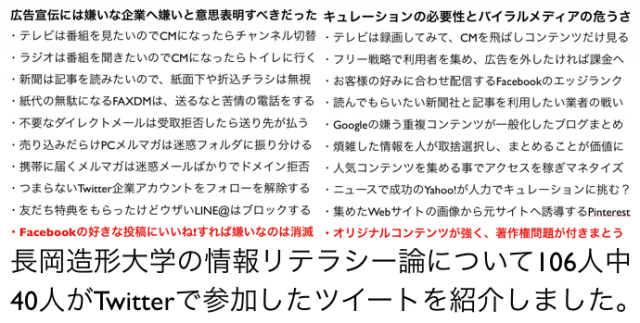 長岡造形大学・情報リテラシー論05キュレーションの必要性