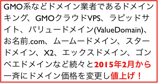 2015年(平成27年)2月から変わること:ドメイン価格の値上げ