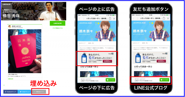 LINEブログのスマホ広告・友だち追加ボタン・埋め込みコード