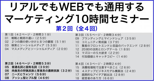 リアルでもWEBでも通用するマーケティング10時間セミナー第2回/全4回