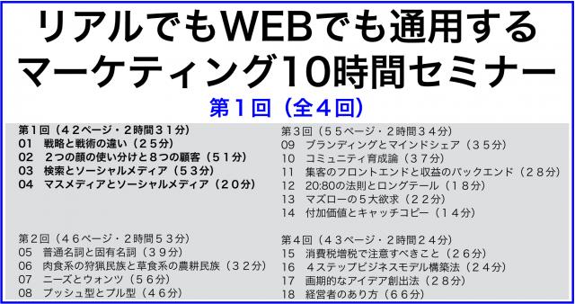 リアルでもWEBでも通用するマーケティング10時間セミナー第1回/全4回
