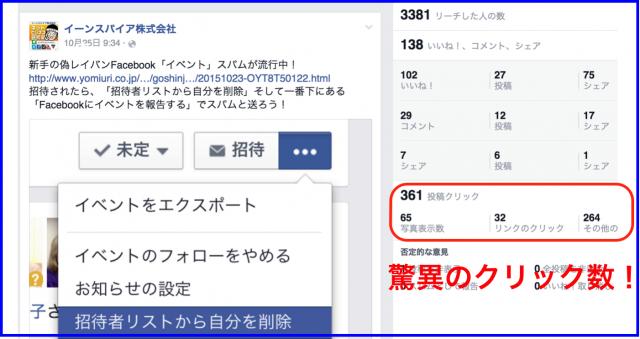 2015年10月Facebookページ投稿クリック数ランキング20