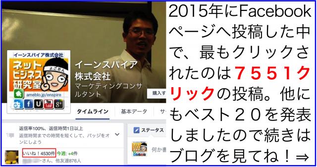 2015年Facebookページのクリック数ランキング年間20傑