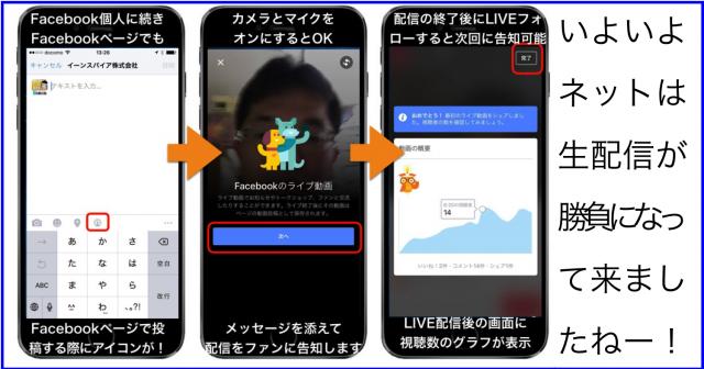 個人に続きFacebookページでもネット生配信Facebook Liveが可能へ