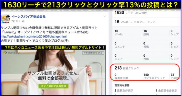 2016年7月Facebookページ投稿クリック数ランキング20