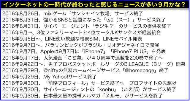 2016年(平成28年)9月から変わることiPhone7・LINEスマホ