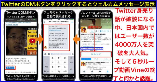 HPにTwitterのDMボタン設置と自動メッセージ表示する方法