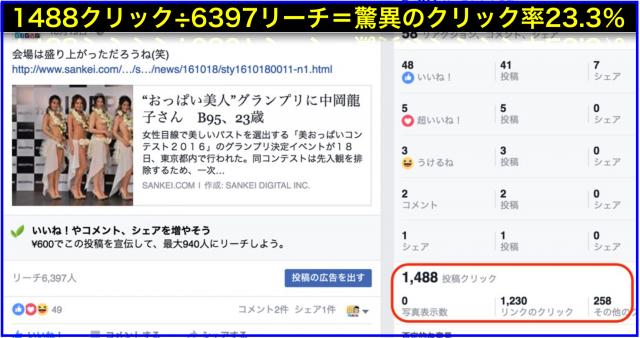 2016年10月Facebookページ投稿クリック数ランキング20
