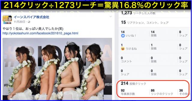 2016年11月Facebookページ投稿クリック数ランキング20