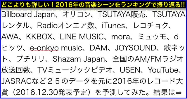 どこよりも詳しい25データ集計2016年シングル曲ランキング