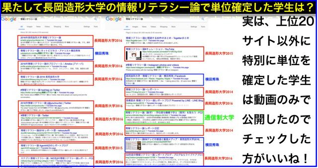 Google検索「情報リテラシー論 」SEO上位:長岡造形大学生は?