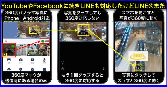360度パノラマ写真にLINEアプリ対応とLINE@アプリ非対応