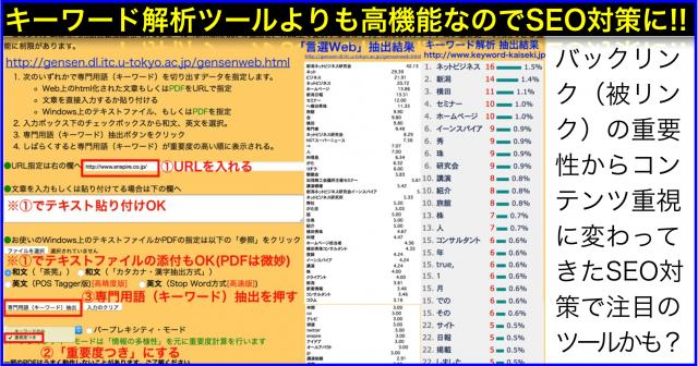専門用語キーワード自動抽出サービス「言選Web」でSEO対策