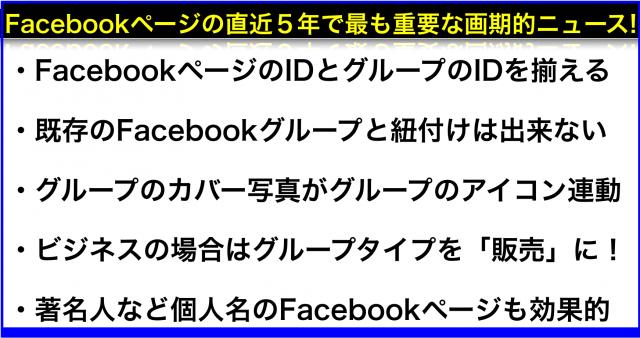 Facebookページ名でグループを作成し管理人や投稿が可能へ