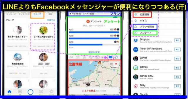 Facebookメッセンジャー新機能3つ位置情報リアルタイム共有・プラン・アンケート