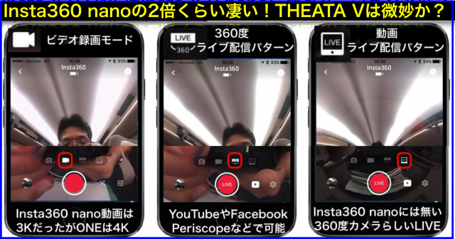 360度カメラInsta360 ONE vs RICOH THETA Vレビュー