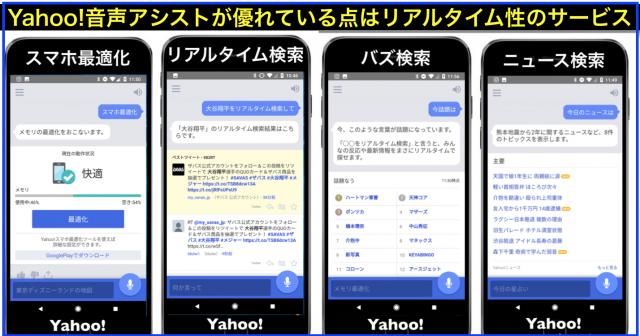 Yahoo!音声アシストとSiriとOK Googleをリアルタイム比較