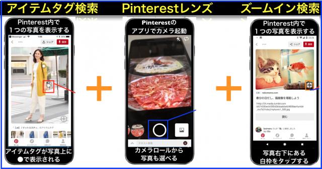 Pinterestレンズ・ズームイン検索・アイテムタグのAI画像検索