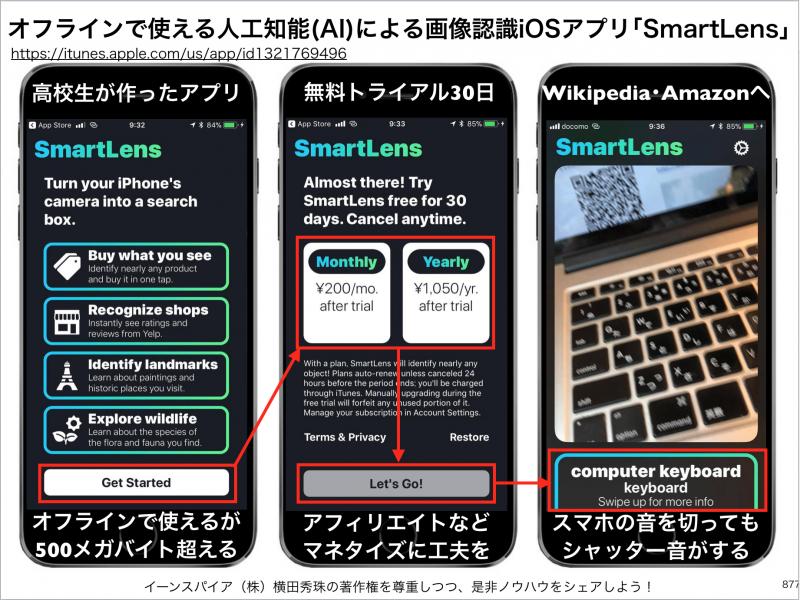 オフラインで使える人工知能(AI)による画像認識iOSアプリ「SmartLens」