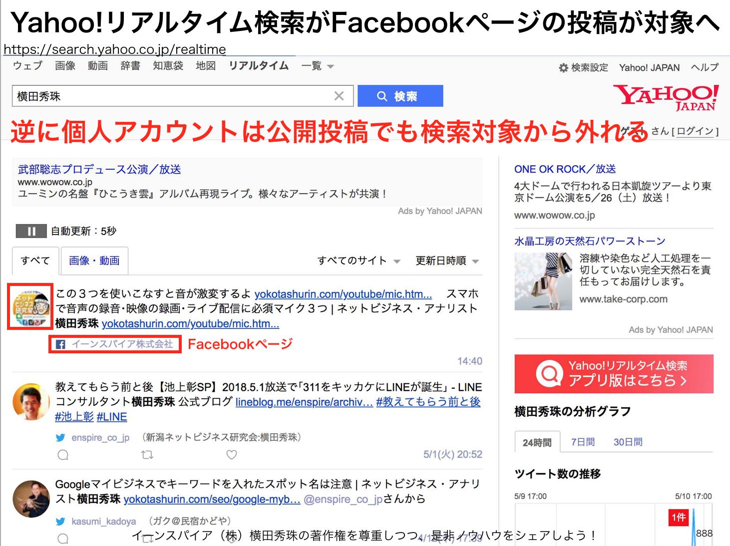 Yahoo!リアルタイム検索でヒットするのはFacebookページのみで個人アカウントは公開投稿でも対象外へ