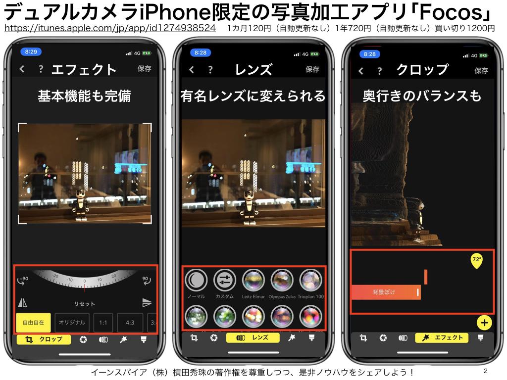 デュアルカメラiPhone限定ポートレートモード写真加工アプリ「Focos」