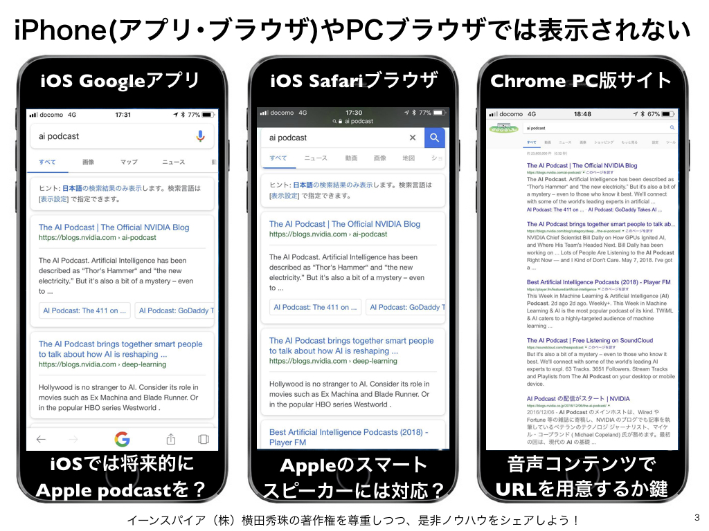 AndroidはGoogle検索結果に音声コンテンツPodcast表示