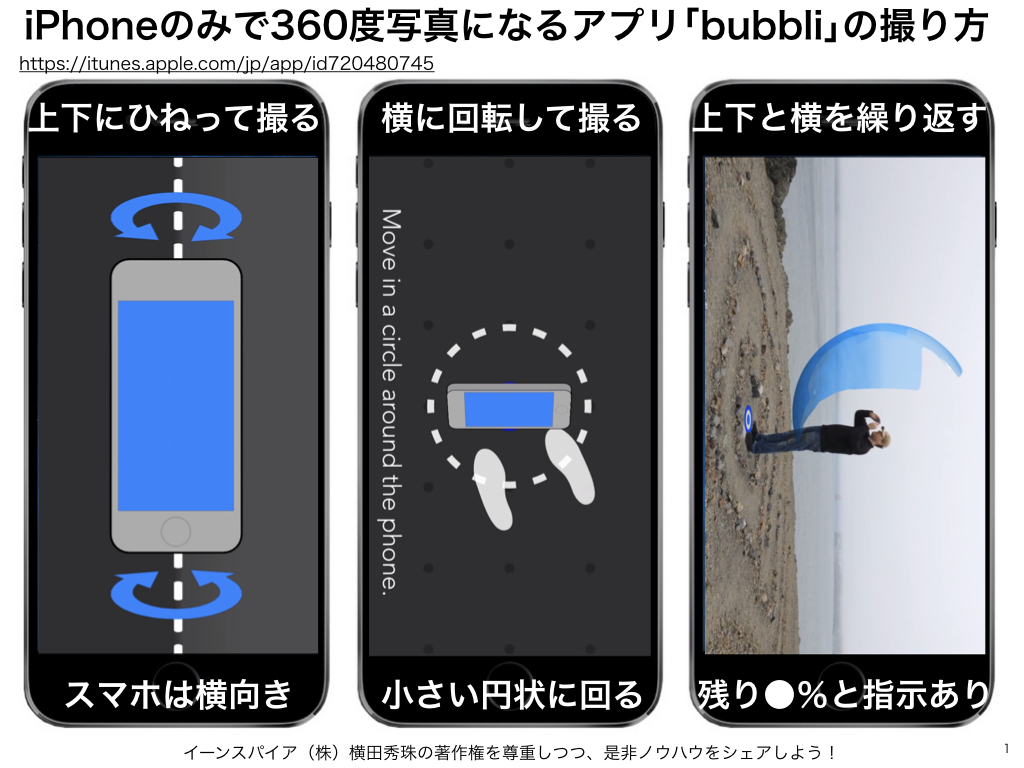 iPhone撮影のみで360度写真になるアプリ「bubbli」の使い方