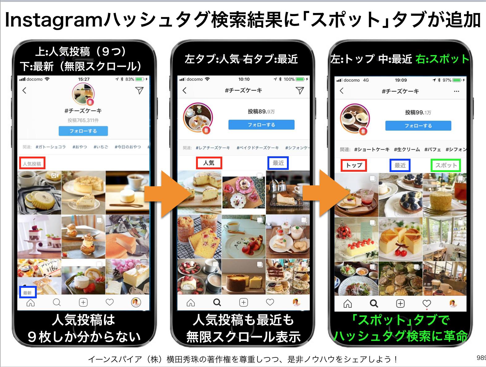 Instagramハッシュタグ検索結果に3つ目「スポット」タブ追加