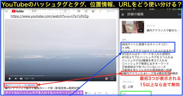 YouTubeのタグと別にタイトル上へハッシュタグが3つ表示