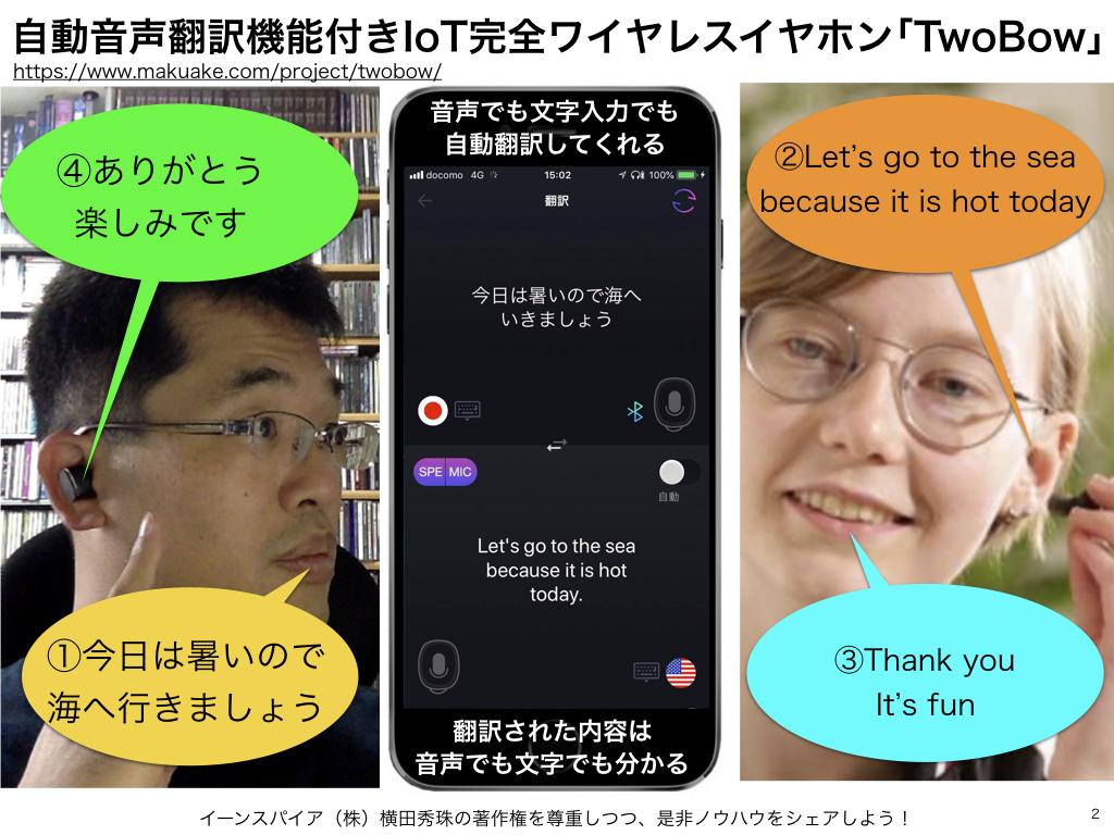 自動音声翻訳機能付きIoT完全ワイヤレスイヤホン「TwoBow」