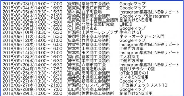 2018年9月以降の講演予定で注目セミナー(新潟県外も多数)
