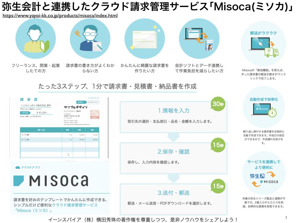 弥生会計と連携のクラウド請求管理サービスMisoca(ミソカ)