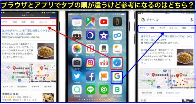 Google検索結果のタブ順がスマホブラウザとアプリで異なる