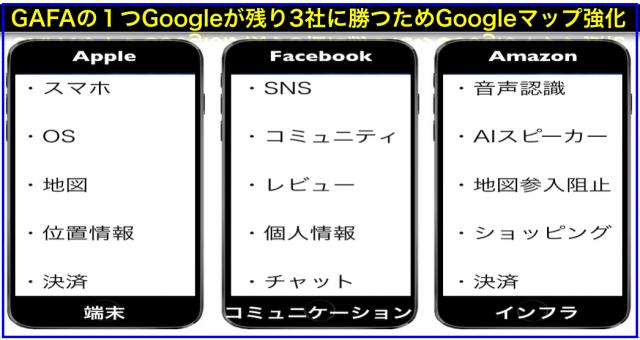 GAFAの1つGoogleが残り3社に勝つためGoogleマップ強化