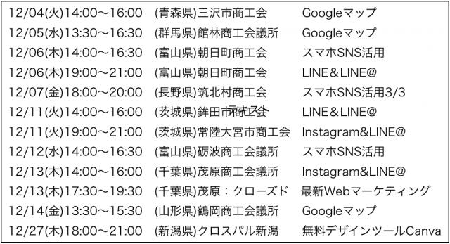 2018年12月以降の講演予定で注目セミナー(新潟県外も多数)