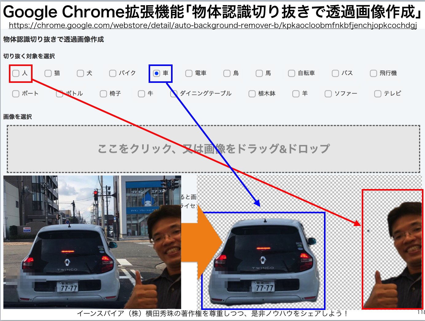 Google Chrome拡張機能「物体認識切り抜きで透過画像作成」