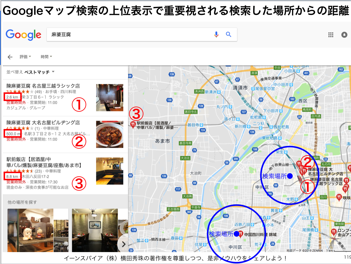 Googleマップ検索の上位表示で重要視の検索場所からの距離