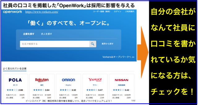 社員の口コミ求人サイト「Vorkers」から「OpenWork」へ変更