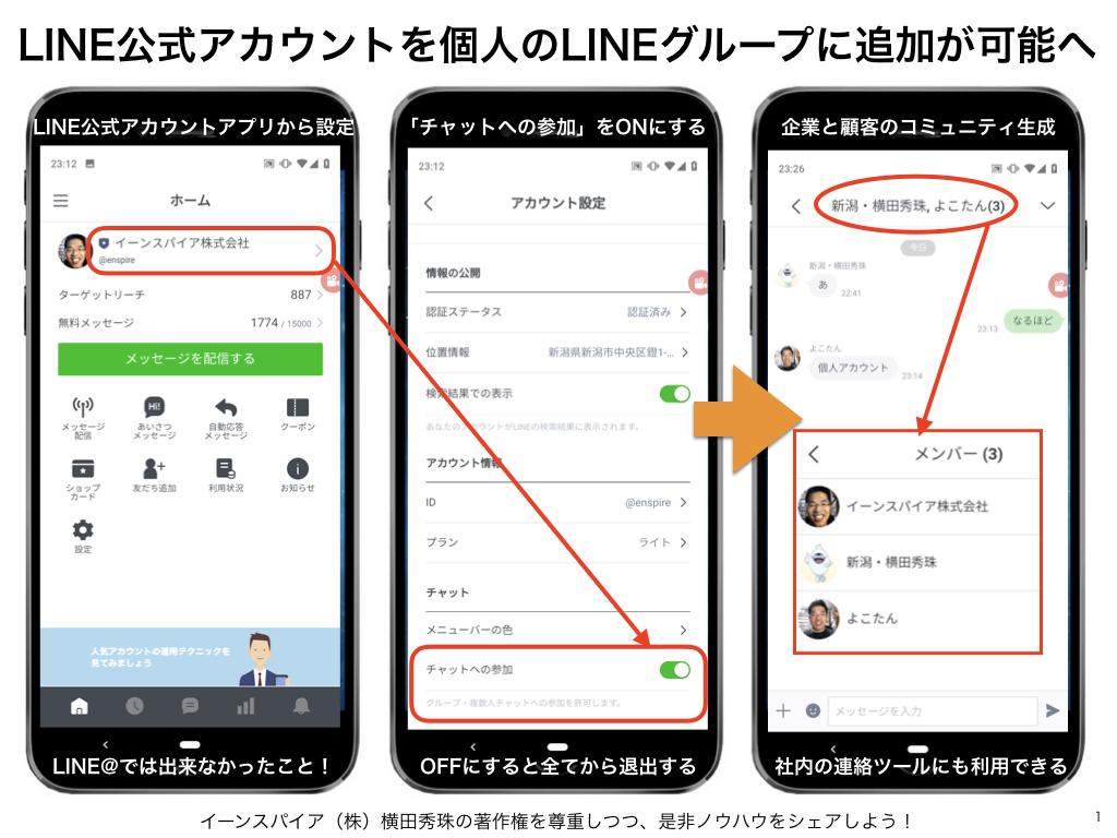 LINE公式アカウント移行で個人のLINEグループに追加OKへ
