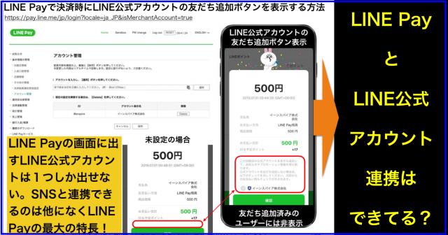 LINE Payで決済時にLINE公式アカウントの友だち追加ボタンを表示する方法