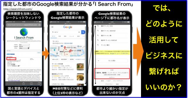 「I Search From」は指定した都市のGoogle検索結果が分かる