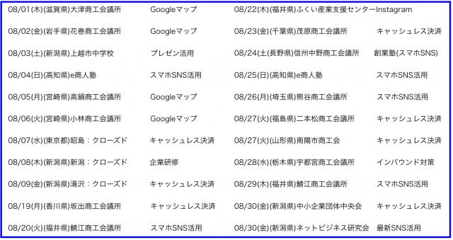 2019年8月以降の講演予定で注目セミナー(新潟県外も多数)