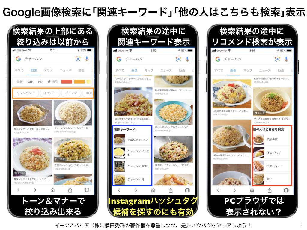 Google画像検索に関連キーワード表示とGoogleレンズ対応
