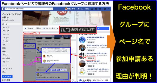 Facebookページ名で管理外Facebookグループに参加の方法