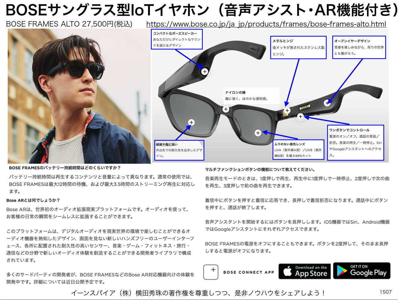 BOSEサングラス型IoTイヤホン(音声アシスト・AR機能付き)