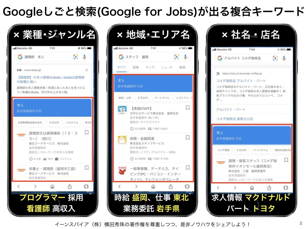Googleしごと検索(Google for Jobs)表示のキーワード一覧