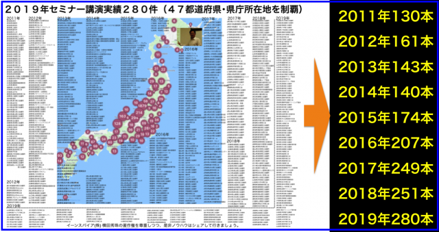 2019年セミナー講演実績280件47都道府県+県庁所在地制覇