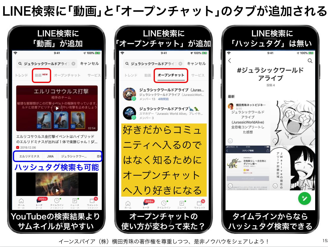 LINE検索に「動画」と「オープンチャット」タブが追加その次は?