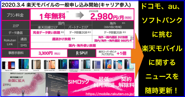 #楽天モバイル (新規キャリア参入)のニュースまとめ(随時更新)